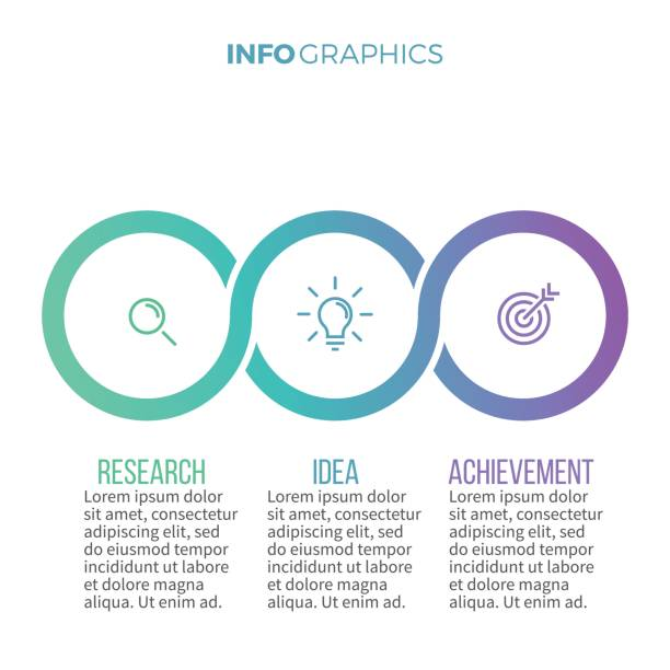 business infographics. timeline with with 3 options, circles. - three shapes stock illustrations, clip art, cartoons, & icons