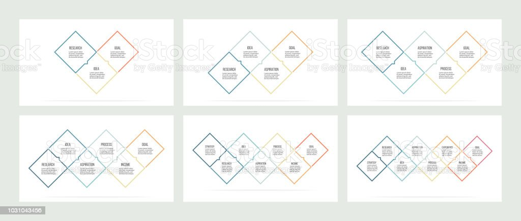 business infographics timelines with 3 4 5 6 7 8 steps options