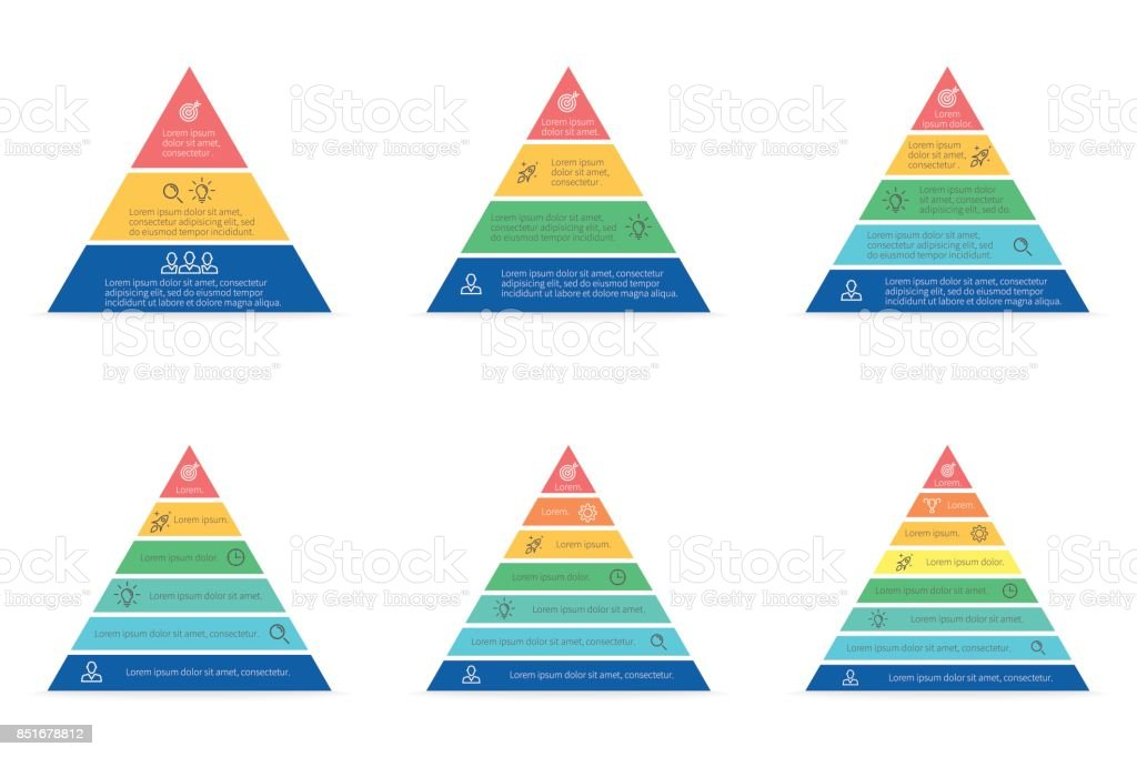 Business infographics. Triangle, pyramid with 3, 4, 5, 6, 7, 8 steps, levels. Vector templates. - ilustração de arte vetorial