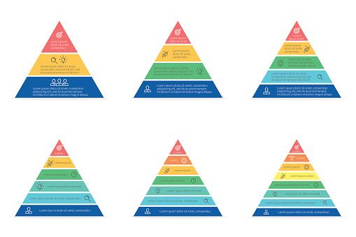 Business Infographics Triangle Pyramid With 3 4 5 6 7 8 Steps Levels Vector Templates — стоковая векторная графика и другие изображения на тему Без людей
