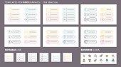 Business infographics. Ui, navigation elements with 6 steps, options. Vector design templates for presentation. Editable line.