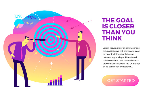 Business infographics with business situations, goal achievement, career, profession. Target audience, customer search. Businessman looking into a telescope at the target target. Shoots at the target, the arrow hits the target. Vector illustration flat de