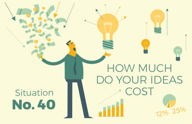ilustrações de stock, clip art, desenhos animados e ícones de business infographics with illustrations of business situations. businessman investor weighs the value of the idea - holding a light bulb in one hand, and money - in the other. decision making, project selection. - bills couple
