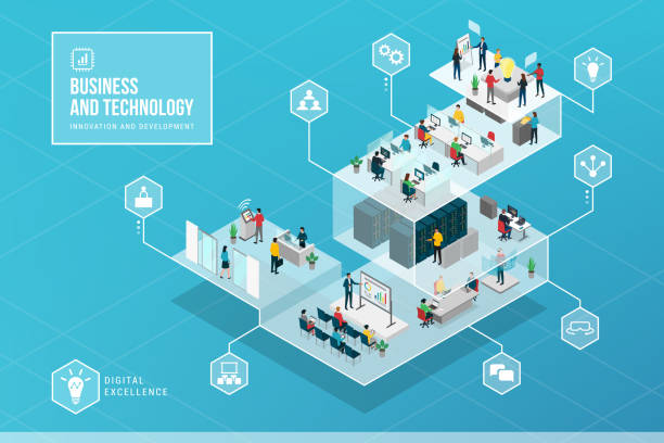 business innovation and technology isometric infographic - computer server room stock illustrations