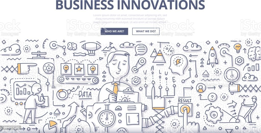 Business Innovations Doodle Concept vector art illustration