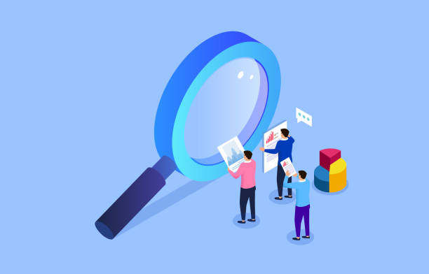 Business insights and opinions, three businesses holding a report stand next to a magnifying glass vector art illustration