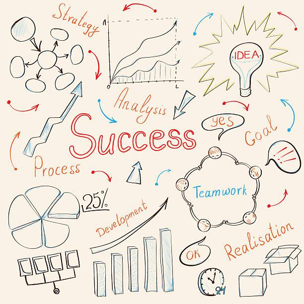 ilustrações de stock, clip art, desenhos animados e ícones de inspiração conceito de negócio - writing ideas