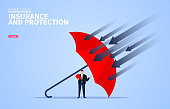 Business insurance and protection, red umbrella protection businessman