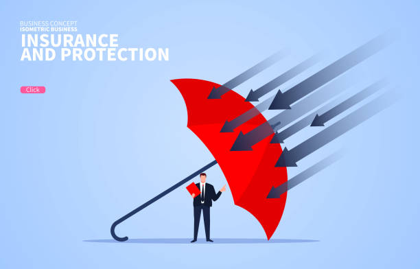 Business insurance and protection, red umbrella protection businessman Business insurance and protection, red umbrella protection businessman insurance stock illustrations
