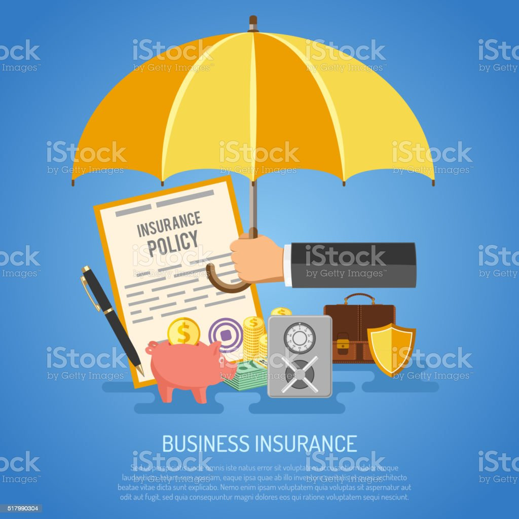 Concept d'assurance affaires - Illustration vectorielle