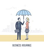 Abstract and symbolic presentation. Businessman holding an umbrella next to businesswoman. Outline vector illustration.