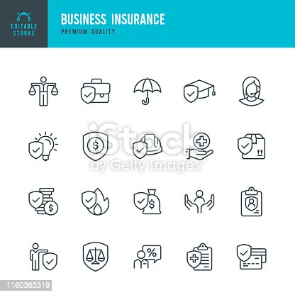 Set of 20 Business Insurance line vector icons. Business Insurance, Financial Insurance, Medical insurance, Delivery Insurance and so on