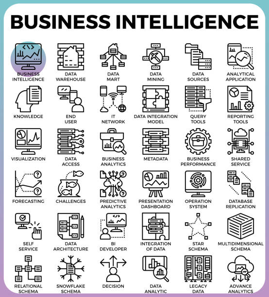 Business intelligence(BI) concept icons vector art illustration