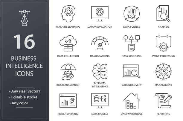 Business Intelligence line icons set. Black vector illustration. Editable stroke. Set of business Intelligence icons, such as machine learning, data modeling, visualization, risk management and more. Editable stroke. data stock illustrations
