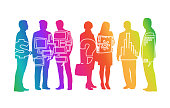 Group of business people in colourful silhouettes with doodle style infographics overlay