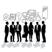 A vector silhouette illustration of business women and men with sketched symbols as thought/speech bubbles above their heads including graphs, dollar sign, question mark, building, communication, and power.