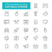 Chart, Data, Working, USA, Organization, UI, Editable Stroke Icon Set