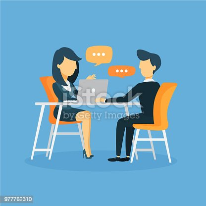 Business interview illustration with talking and discussing.
