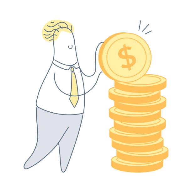 ilustraciones, imágenes clip art, dibujos animados e iconos de stock de inversión empresarial y vector de ahorro de dinero - gerente de cuentas