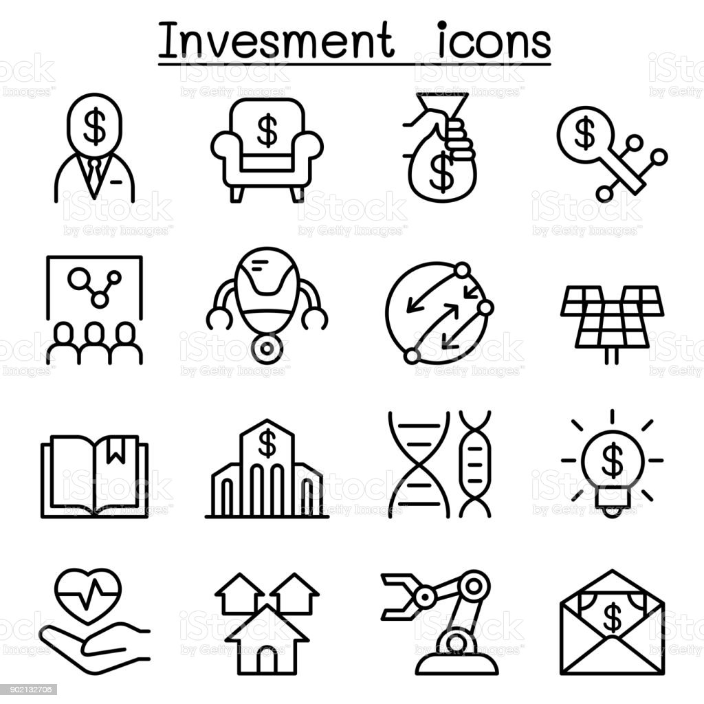 Business investment icon set in thin line style vector art illustration