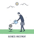 Abstract and symbolic presentation. Business Investment. Businessman watering the plant, growing idea concept. Outline vector illustration.