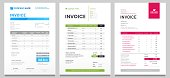 istock Business invoice form template. Invoicing quotes, money bills or price invoices and payment agreement design templates vector set 1175416252