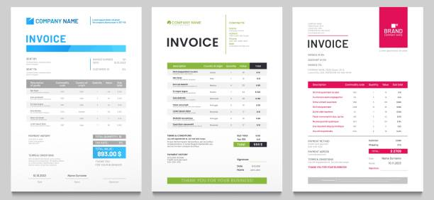 Business invoice form template. Invoicing quotes, money bills or price invoices and payment agreement design templates vector set vector art illustration
