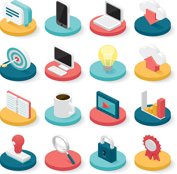 ilustraciones, imágenes clip art, dibujos animados e iconos de stock de business isometric icons - isometric icons