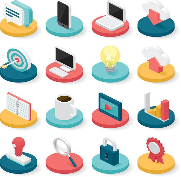 ilustraciones, imágenes clip art, dibujos animados e iconos de stock de business isometric icons - íconos 3d
