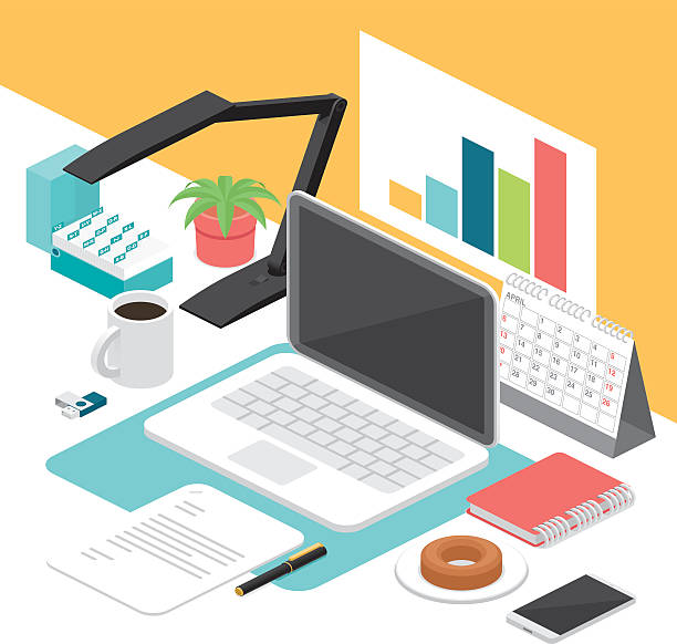 business isometric workplace - workout calendar stock illustrations, clip art, cartoons, & icons