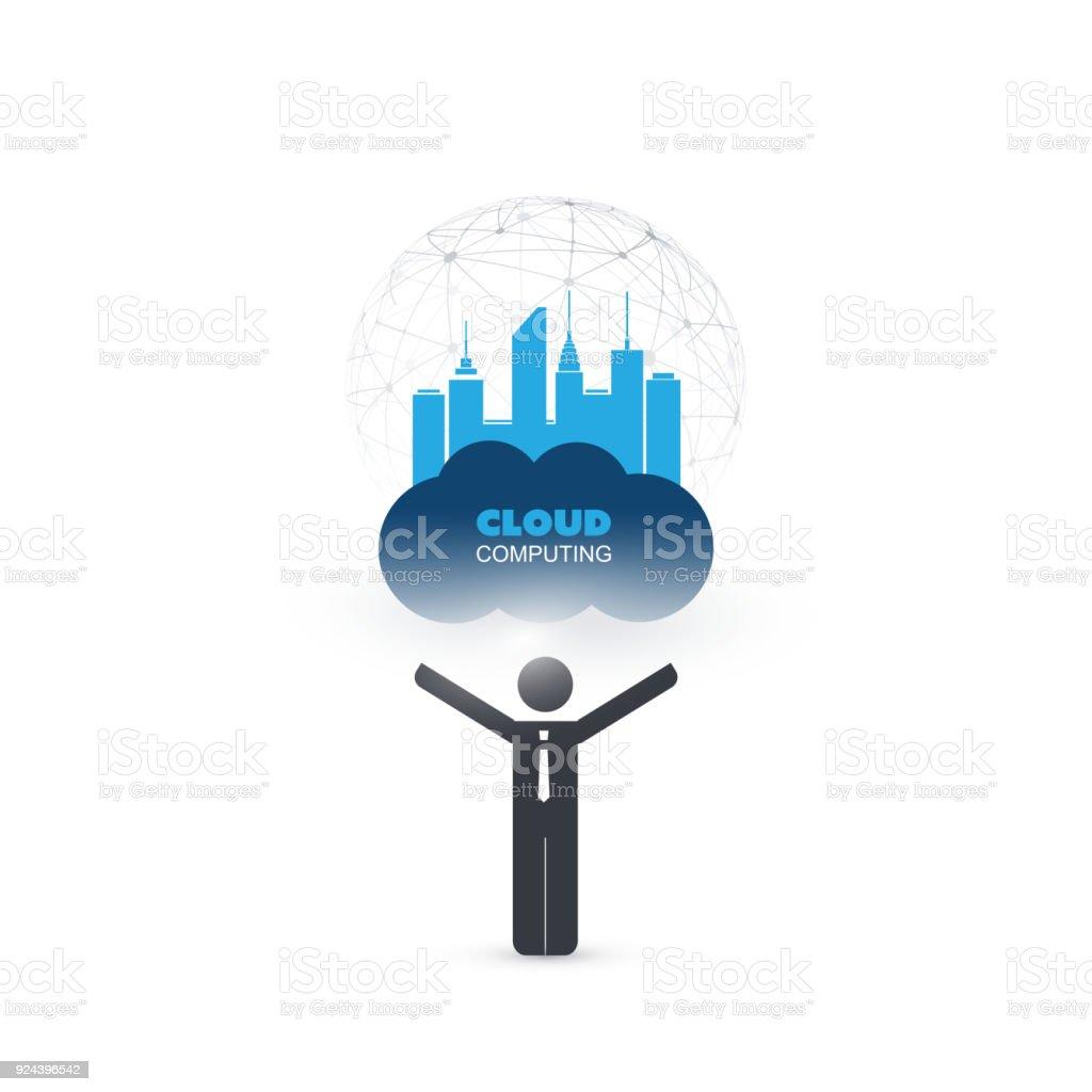 Business IT, IoT, Smart City, Cloud Computing Design Concept vector art illustration