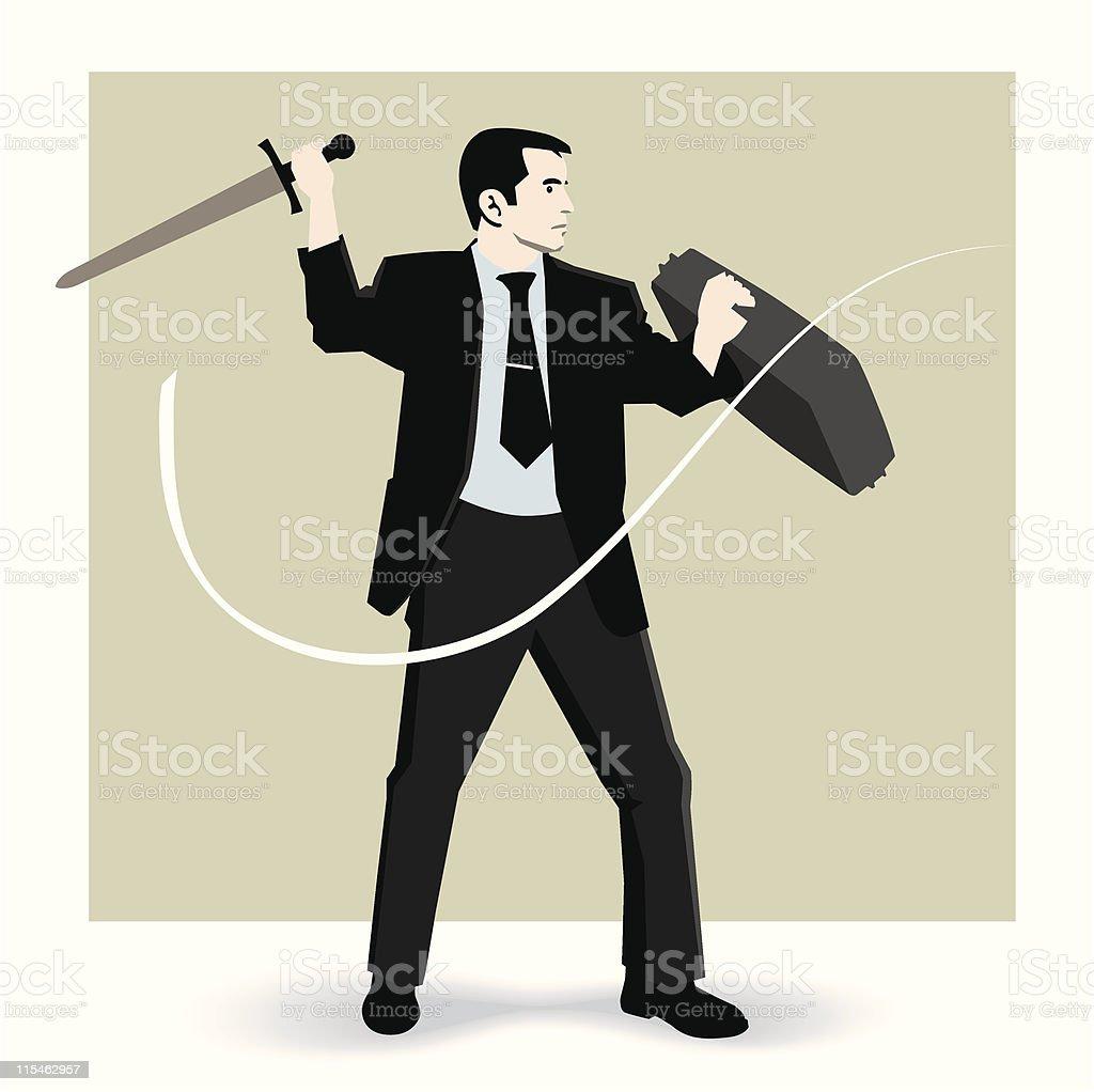 Business knight vector art illustration