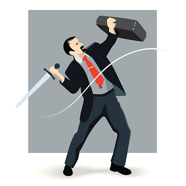 Business knight with red tie vector art illustration