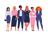 Vector illustration of diverse standing cartoon women in office outfits. Isolated on white.