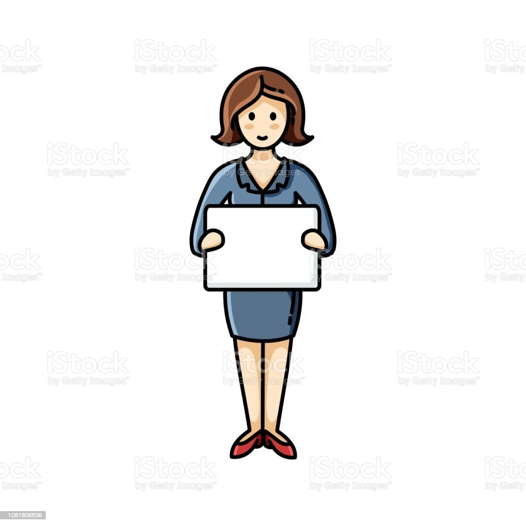Business lady holding a white sheet of paper. Infographic element. Vector character vector art illustration
