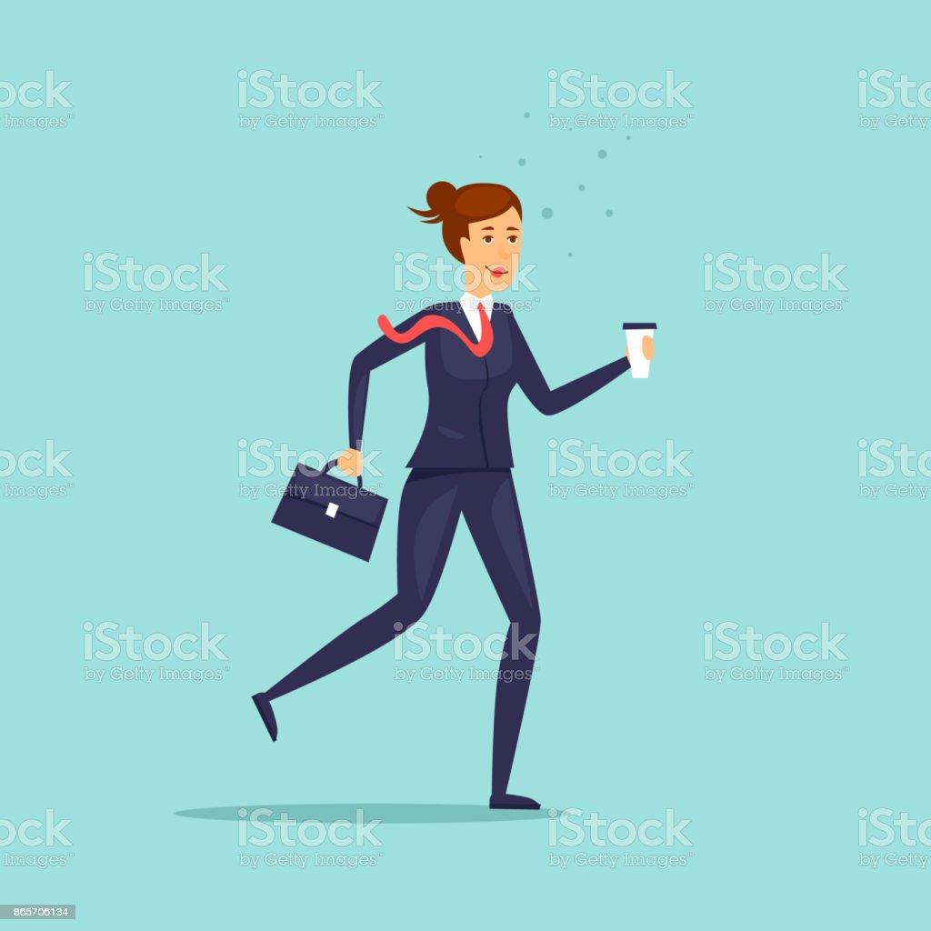 Business-Dame eilt um zu arbeiten. Charakter. Flaches Design-Vektor-Illustration. – Vektorgrafik