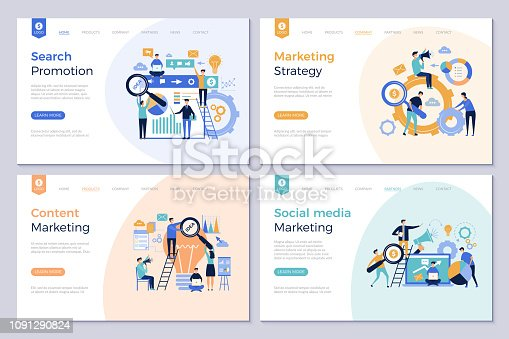 Business landing pages. Marketing website design layout template people promotion modern vector pictures. Social media marketing, content optimization illustration