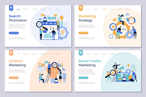 Business Landing Pages Marketing Website Design Layout Template People Promotion Modern Vector Pictures Stock Illustration - Download Image Now