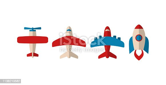Colorful airplane and rocket icons in red, white and blue.