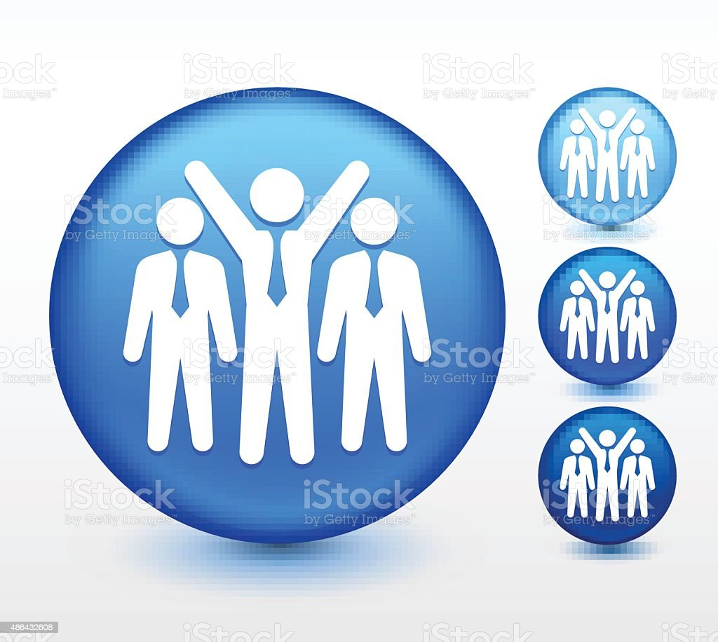 Business Leader and Followers on Blue Round Button vector art illustration
