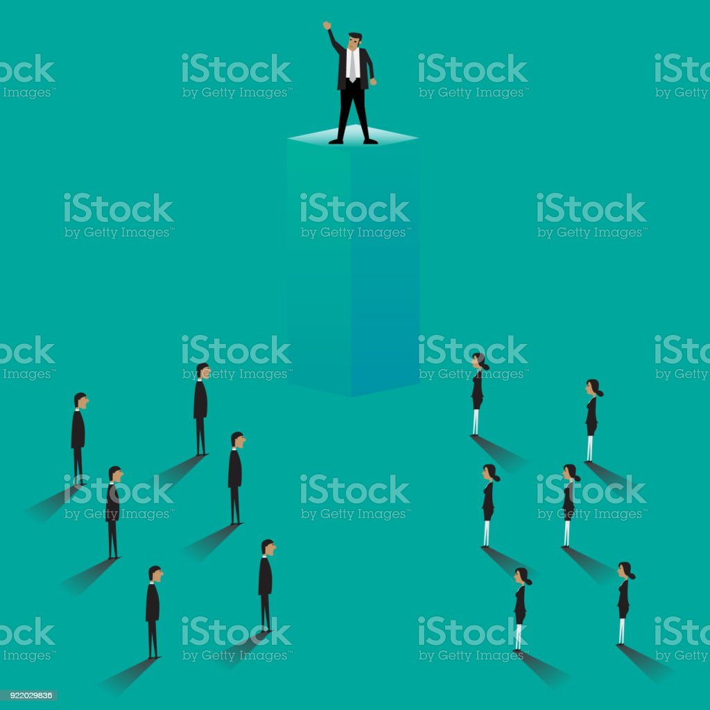 Business Leader Business people looking up at their leader. Teamwork,...