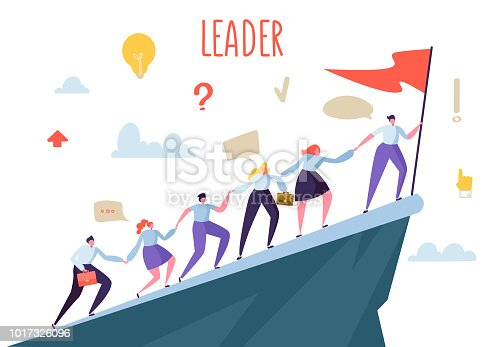Business Leader Concept. Flat People Characters Climbing Top Peak. Teamwork and Leadership, Businessman with Flag. Vector illustration