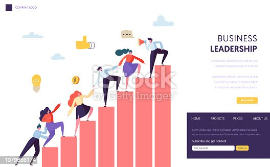 Business Leader Help Team Reaching Up Website. People Climbing Up the Graph. Career Ladder with Characters. Teamwork, Partnership Concept for Website or Web Page. Flat Cartoon Vector Illustration