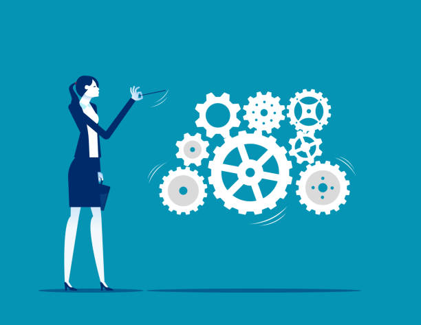 A business leader leading gears as a musical conductor would do vector art illustration