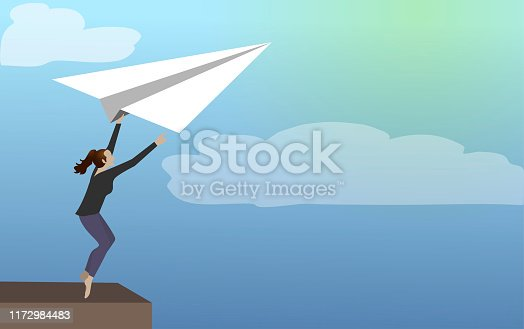 Business leader leaving comfort zone on a paper plane.