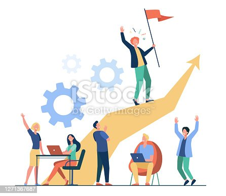 istock Business leader standing on arrow and holding flag 1271367687