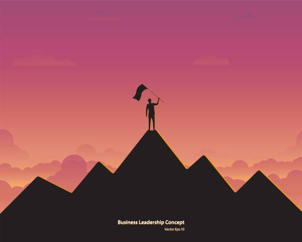 Business leader vector concept Business leader vector concept. Businessman planting flag on top of mountain. Symbol of success, Achievement, Career, Leadership, Silhouette sunset background. Vector illustration flat mountain top stock illustrations