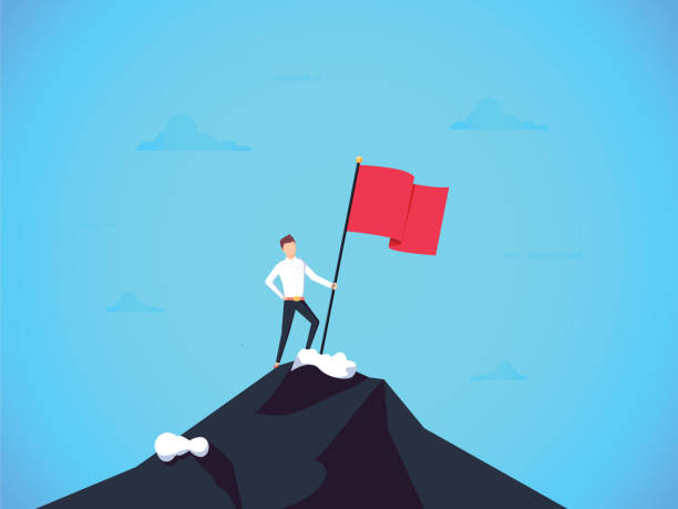 Business leader vector concept with businessman planting flag on top of mountain. Symbol of success achievement, victory Business leader vector concept with businessman planting flag on top of mountain. Symbol of success, achievement victory, top career and leadership. Eps10 vector illustration. Top manager talent mountain top stock illustrations