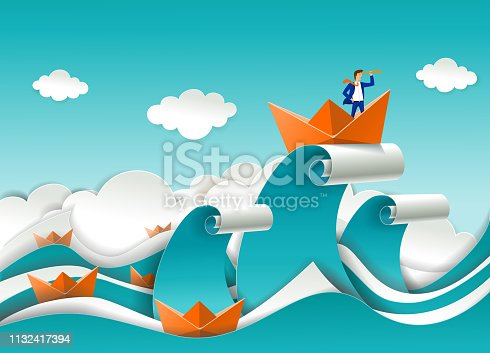 Business leader concept vector poster in paper art origami style. Businessman looking through telescope standing in boat on the top of ocean wave. Business leadership concept.