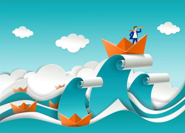 Business leader vector poster in paper art style Business leader concept vector poster in paper art origami style. Businessman looking through telescope standing in boat on the top of ocean wave. Business leadership concept. storm stock illustrations